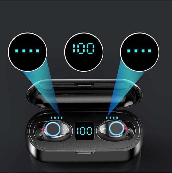 2021 Best Hot Wireless Earphone Bluetooth V5.0 F9 TWS Headphone HiFi Stereo Earbuds LED Display Touch Control 2000mAh Power Bank Mic Headset