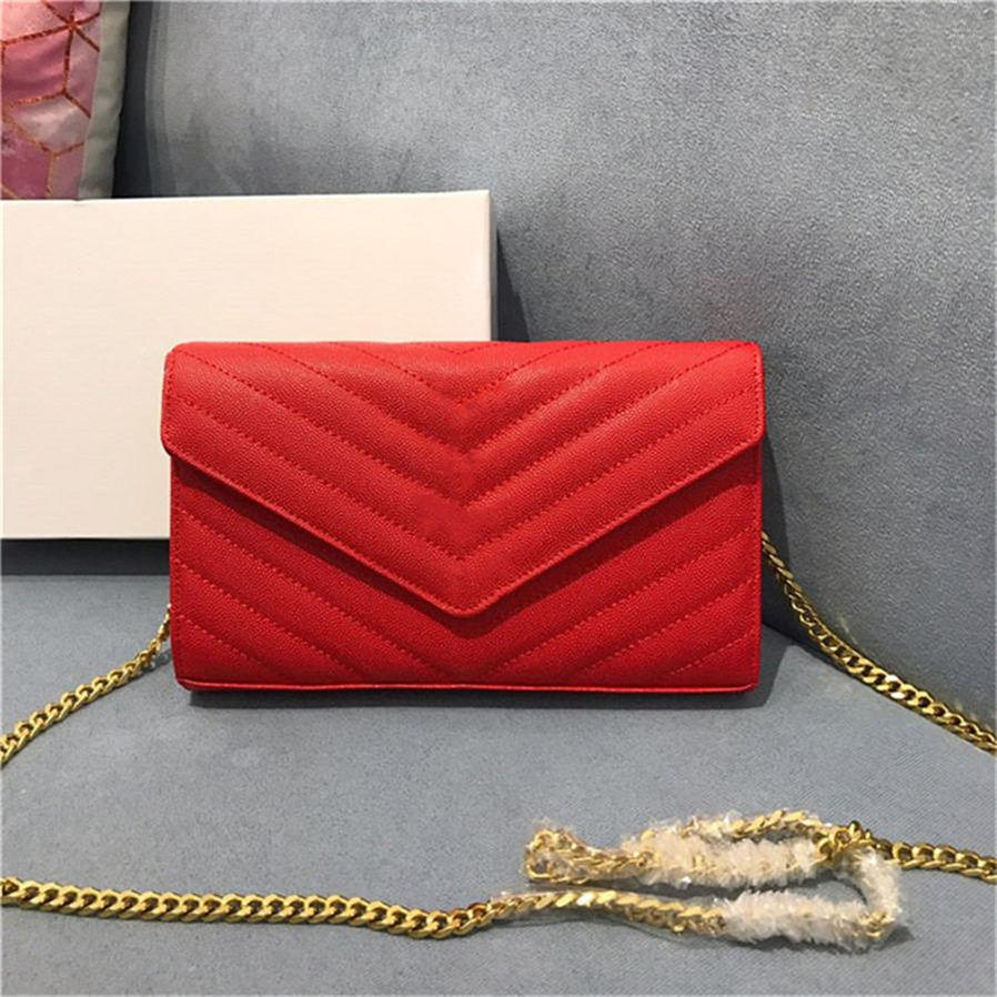 Lederkupplung für Frauen Abendtaschen Mode Kette Geldbörse Dame Umhängetasche Handtasche Mini Paket Messenger Bag Kartenhalter Geldbörse