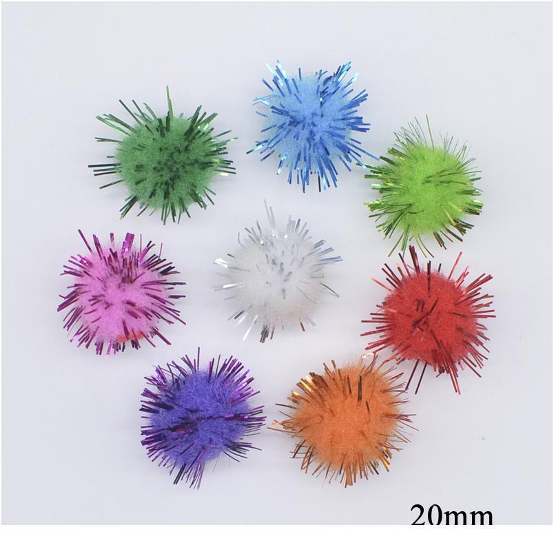 50pcs / lot 20 / 25mm Boule de fil d'or coloré pour bricolage Headwear Bow accessoires de la fête de Noël à la main Chapeau de vêtements de Noël D