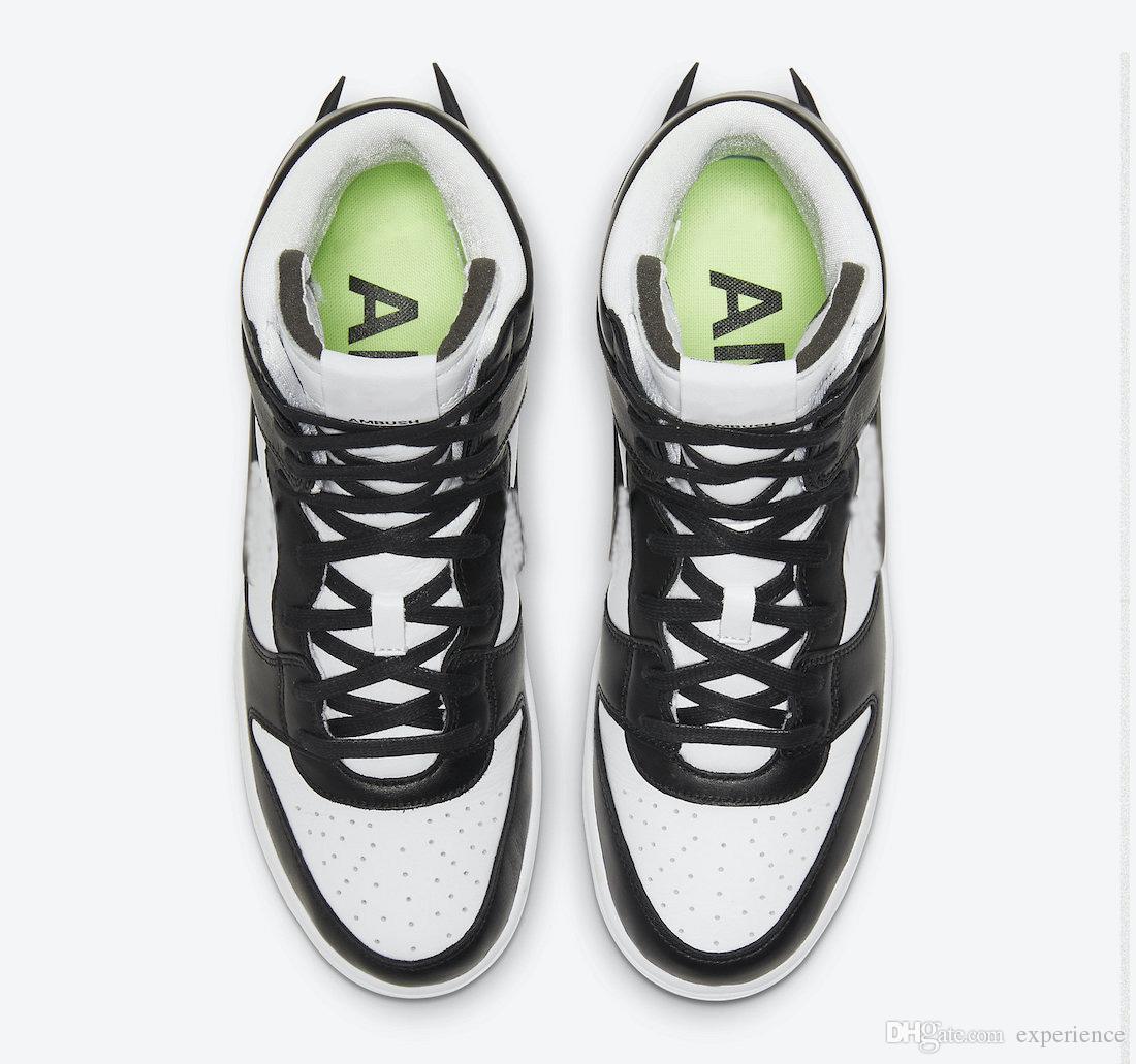 2021 En Sıcak Otantik Dunk Yüksek Pusu Siyah Beyaz Ladin Aura Erkek Kadın Açık Ayakkabı Spor Sneakers ile Orijinal Kutusu
