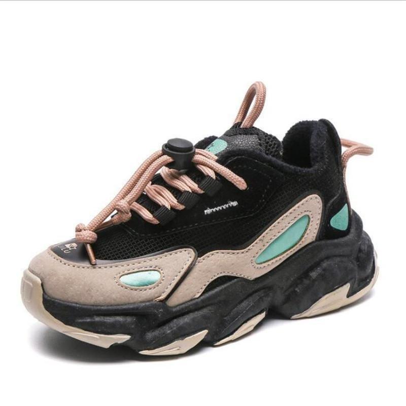Zapatillas Zapatillas Zapatillas Cálidas Invierno Niños Cortos Peluche Bros Boys Chicas Zapatos Casuales De Moda ColorBlock Tendencia Cómodo Zapato deportivo antideslizante 210309