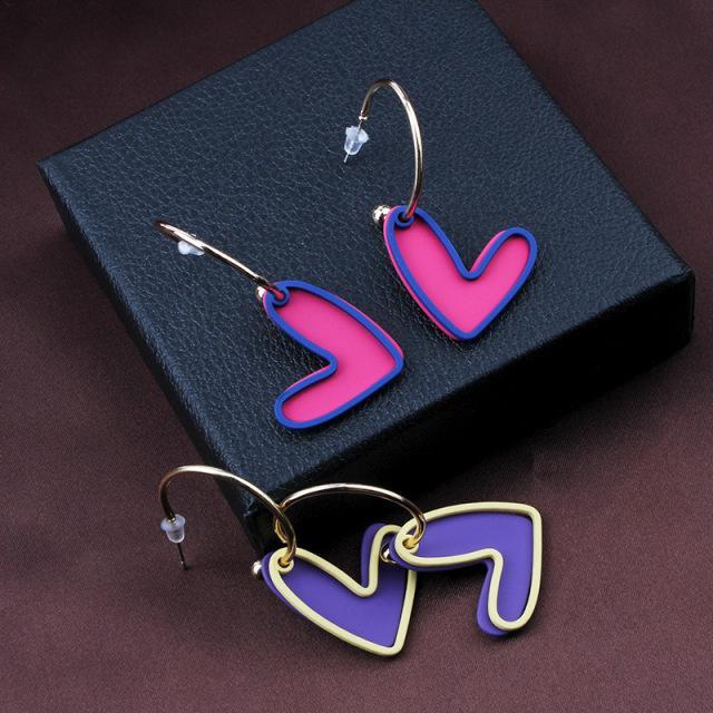 Ohrringe weibliche ohrclip europäischen und amerikanischen schmuck treffer farbe rosa liebe ohrringe anhänger sprühfarbe neue 2 farben