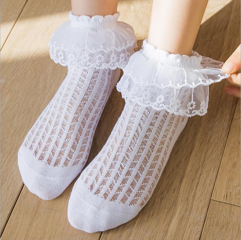 새로운 여름 아기 소녀 키즈 메쉬 양말 패션 레이스 프릴 프리 플라워 코튼 짧은 양말 통기성 공주 아기 소녀 양말