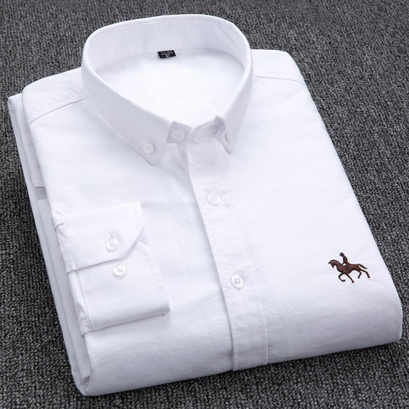 Chemise 100% coton Oxford Homme à manches longues Horse brodée décontractée sans poche Solide Robe Jaune Chemise Hommes Plus Taille 5xL6XL 210305