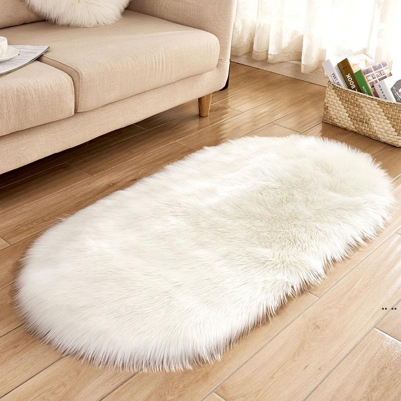 Oval Imitation Wool Rugs Soft Faux Fur Wool Carpet for Living Room 40*60cm 60*120cm Anti-slip Plush Carpets Bedroom Cover HWA3818