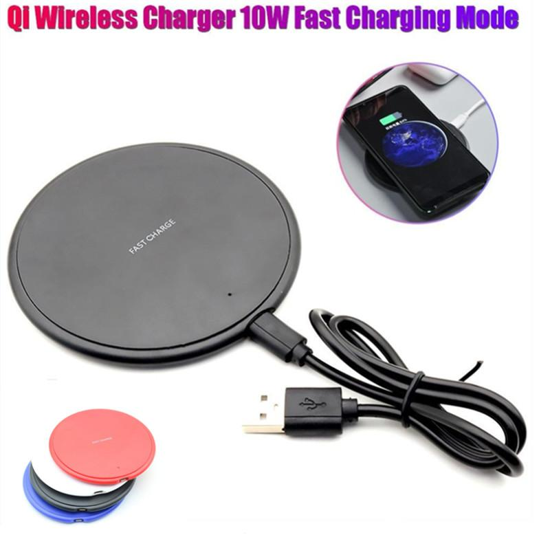 10W Fast Wireless Charger USB Charging Pad For iPhone 12 11 Pro XS Max XR X 8 Plus S10 S9 S8 S7 Edge Note 10 with Retail Box