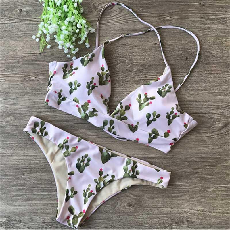 New Cactus Flower Printed Women's Bikini Swimsuitbbng