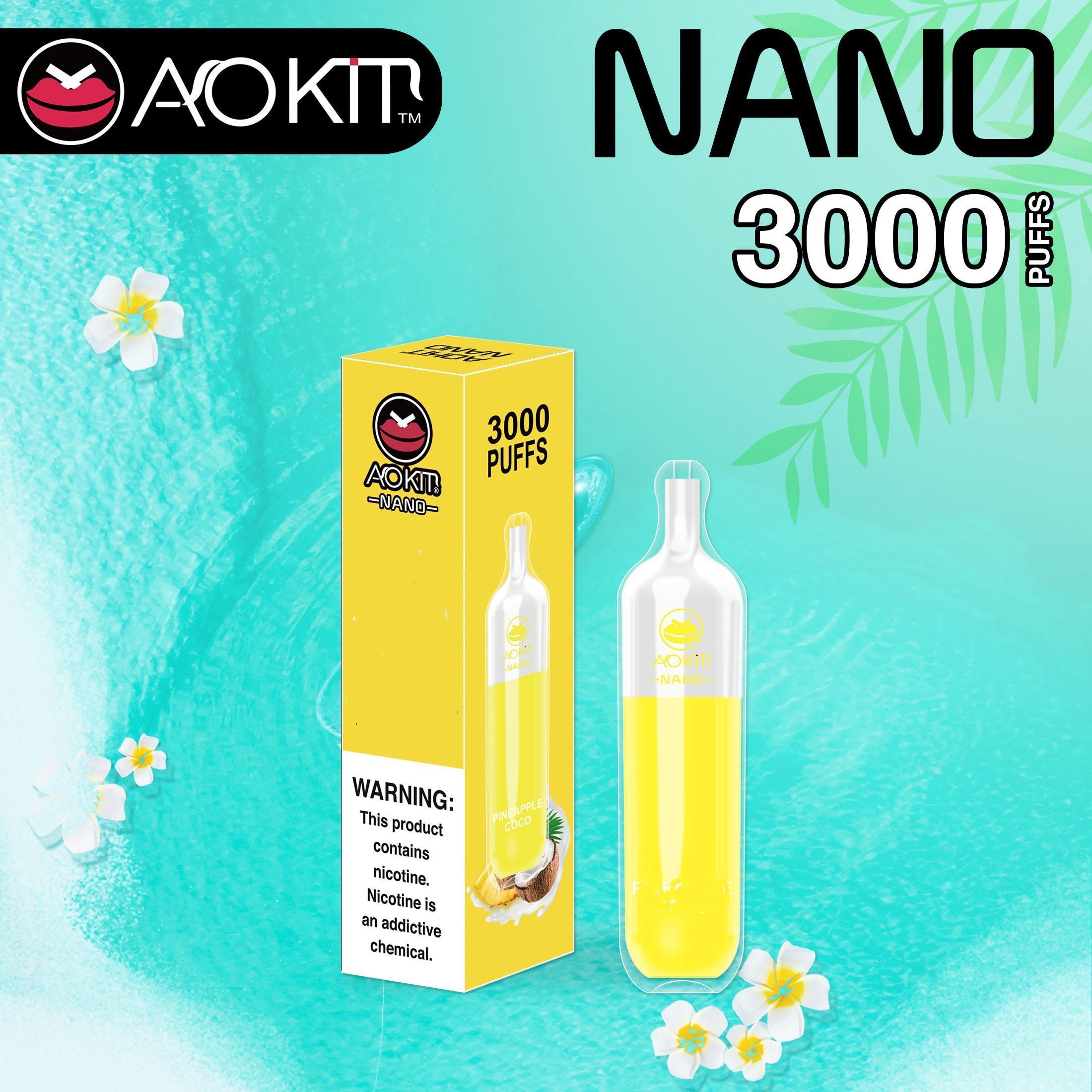 Aokit Nano Original Einweg Zigaretten 3000Puff Pods Dampf 8 ml 5% Kapazität 1100mAh Batterie Ecigs Verdampfer vs Gunnpod Bang XXL Geek Bar Hzko Idol Grippe Floa