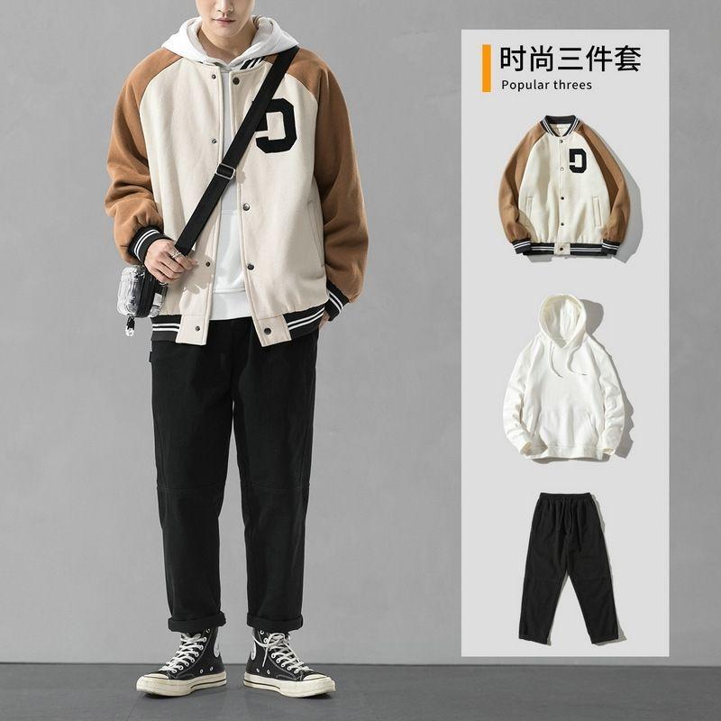 Sport- und Freizeitjacke Männer 2020 New Trend Herbst Jungen Pullover Baseball Hübscher Dreiteiler Anzug
