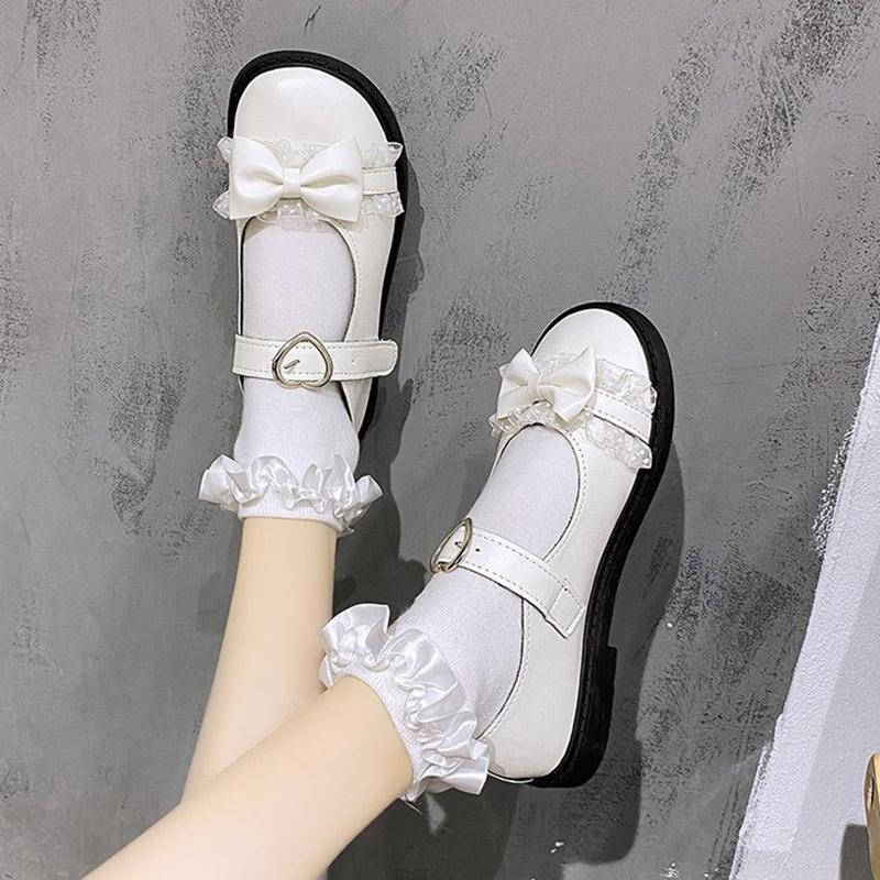 İlkbahar Sonbahar Kadın Flats Mary Janes Ayakkabı Kız Kelebek Düğüm Prenses Ayakkabı Dantel Lolita Ayakkabı Beyaz Düğün Siyah 8322N