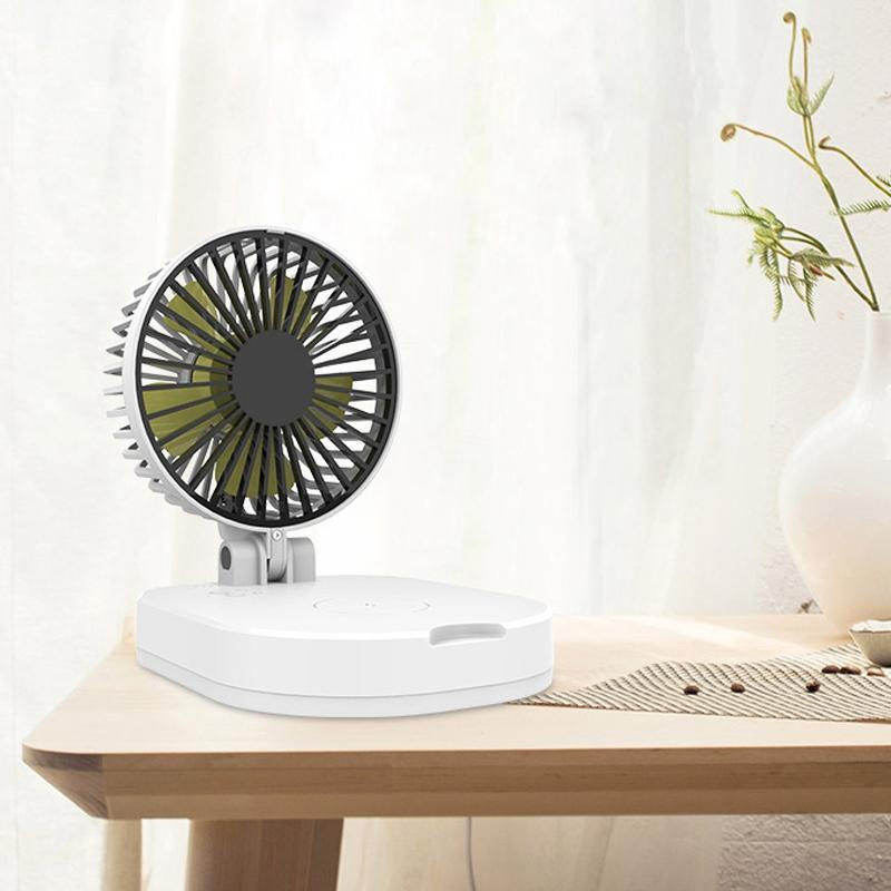 Electric Fans 5000Mah Usb Small Fan Folding Portable Mobile Power Mini Wireless Charger Charging Treasure White