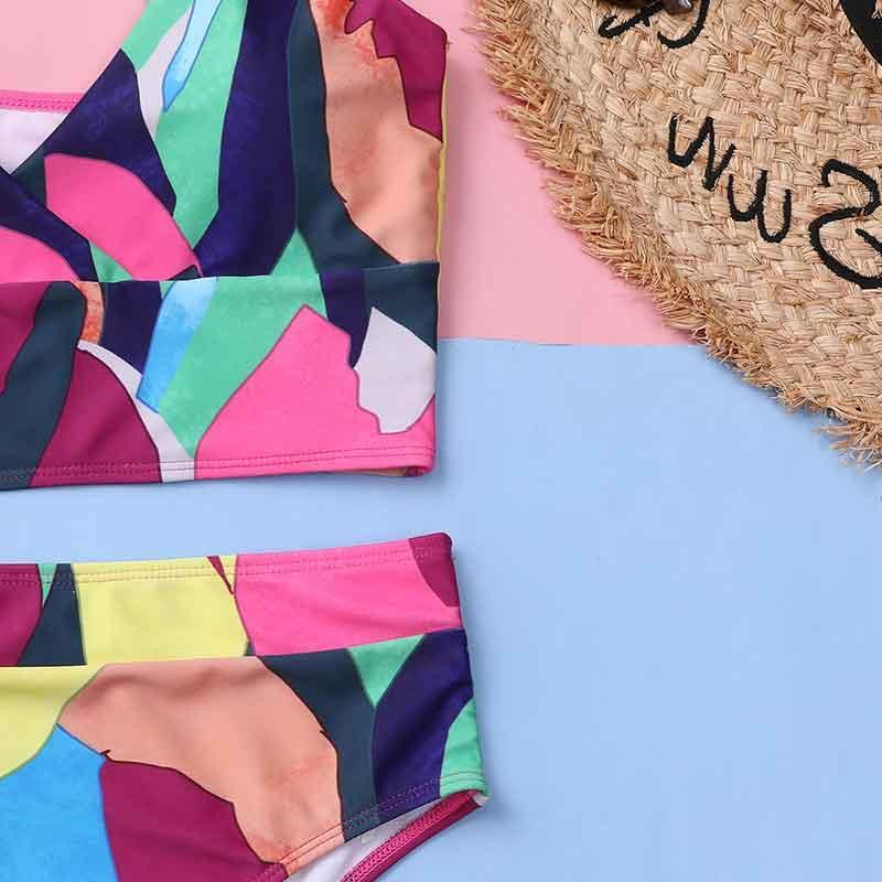Mossha Multicolor sexy bikini set Bandeau high waist bikini 2020 Push up swimwear Retro womens swimsuit Printed bathing suit