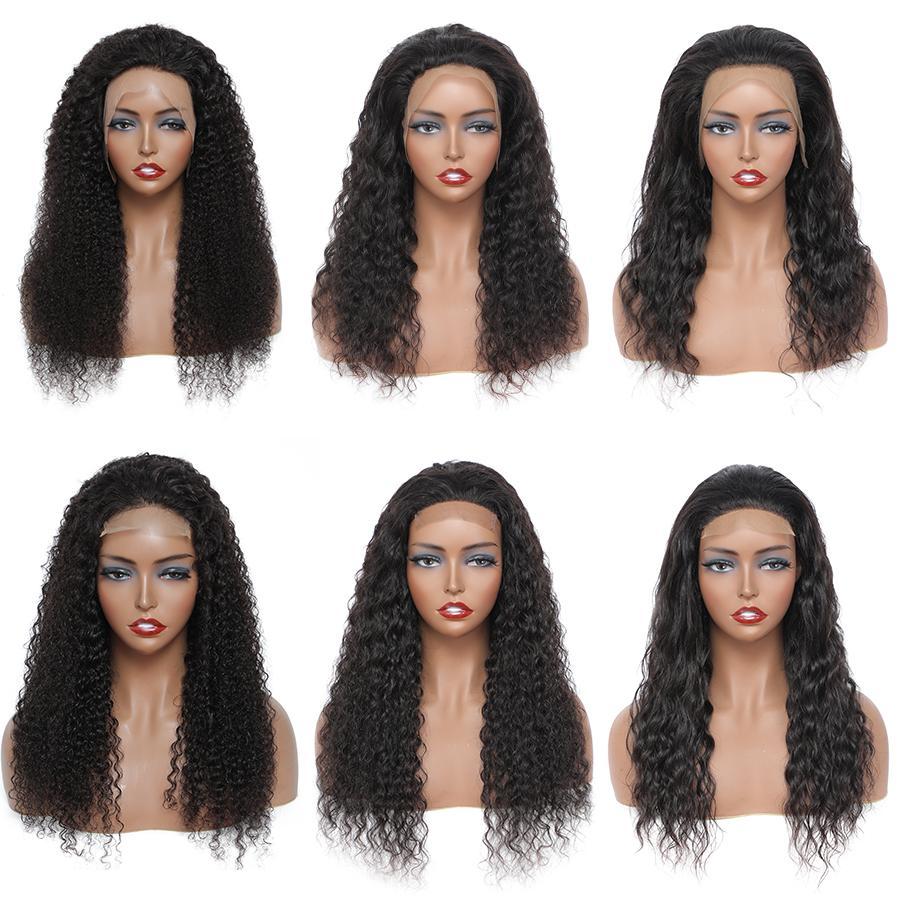 Düz İnsan Saç 4x4 Dantel Kapatma Peruk Kadınlar Için Toptan Brezilyalı Kinky Kıvırcık Vücut Su Derin Dalga 180% Yoğunluk 13x4 Frontal Peruk
