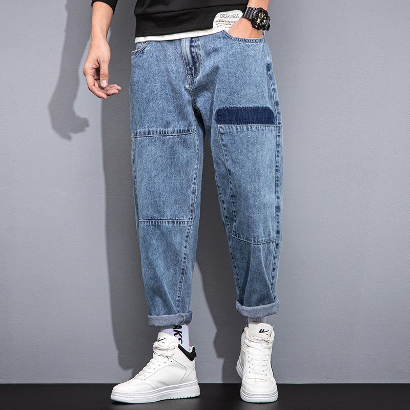 Primavera 2021 Nuovi piccoli jeans diritta Pantaloni da uomo Harem da uomo