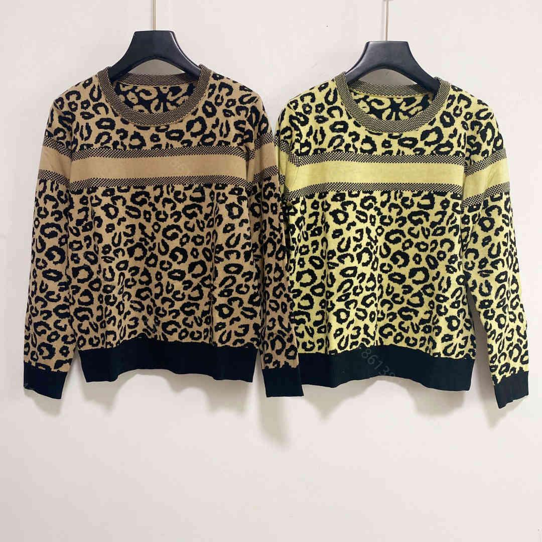 Fashion designer Women wool sweater coats CD brand long-sleeved hoodie sweaters round leopard pattern knit shirt super elastic wholesale womens design clothes