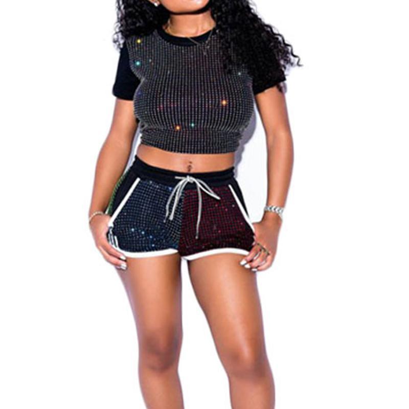 Doyerl Rhinestone İki Adet Set Kısa Kollu Mahsul Üst Ve Şort Setleri Kadın Eşofmanlar Sparkly Gece Kulübü Eşleştirme Kıyafetler