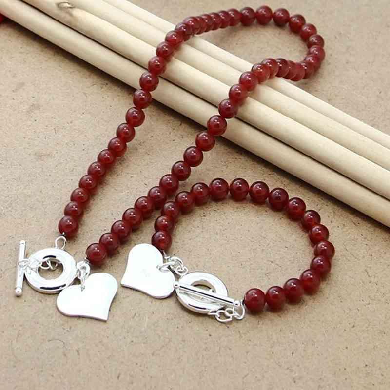 925 Ayar Gümüş Setleri Moda Kırmızı Inci Kalp Kolye Bilezik Seti Kadın Güzel Takı