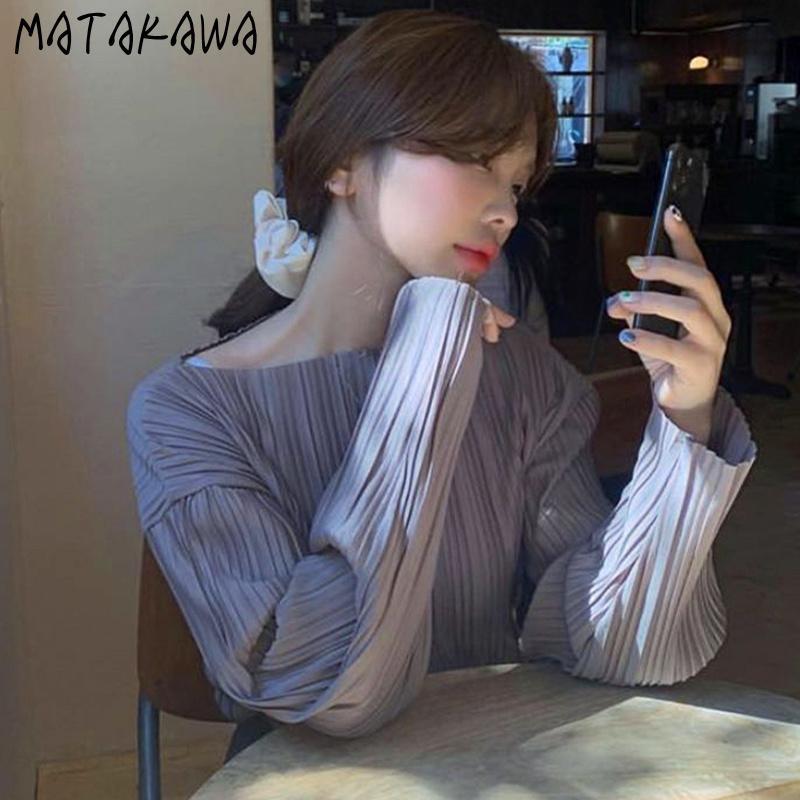 Matakawa vintage manica lunga camicetta camicetta Corea chic autunno girocollo girocollo camicia donna pieghettata sensazione allentata a maniche lunghe top 210226