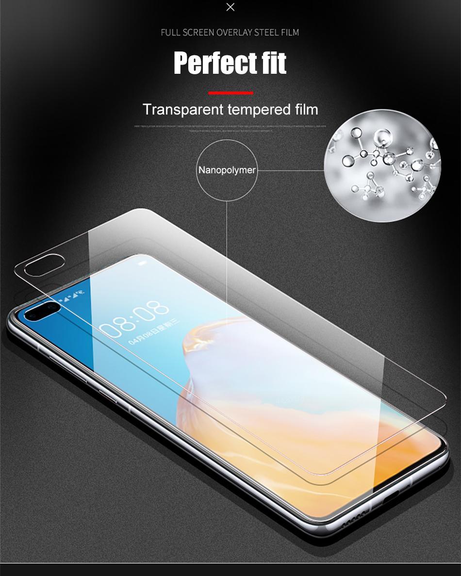 Verre trempé de recouvrement de couverture sur le protecteur d'écran de Huawei P30 Pro P40 P40 P40 sur Huawei Honor 20 30 trompes