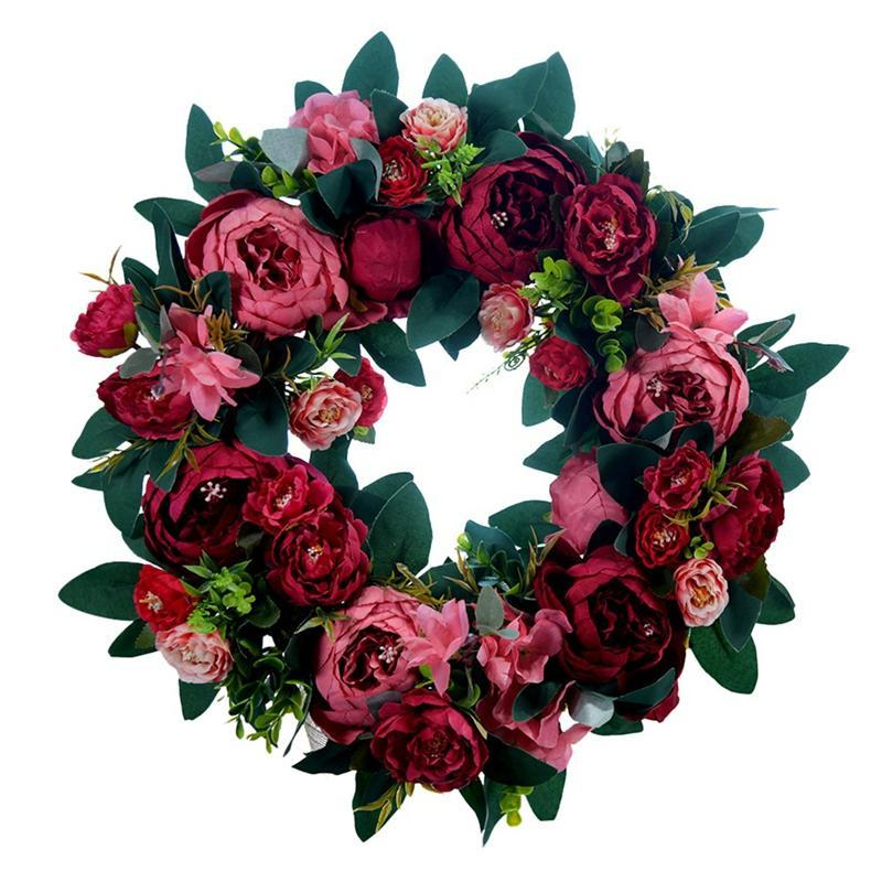 HOT Artificial Peony Flower Wreath for Front Door Farmhouse Welcome Door Wall Window Wedding Birthday Party Home Decor