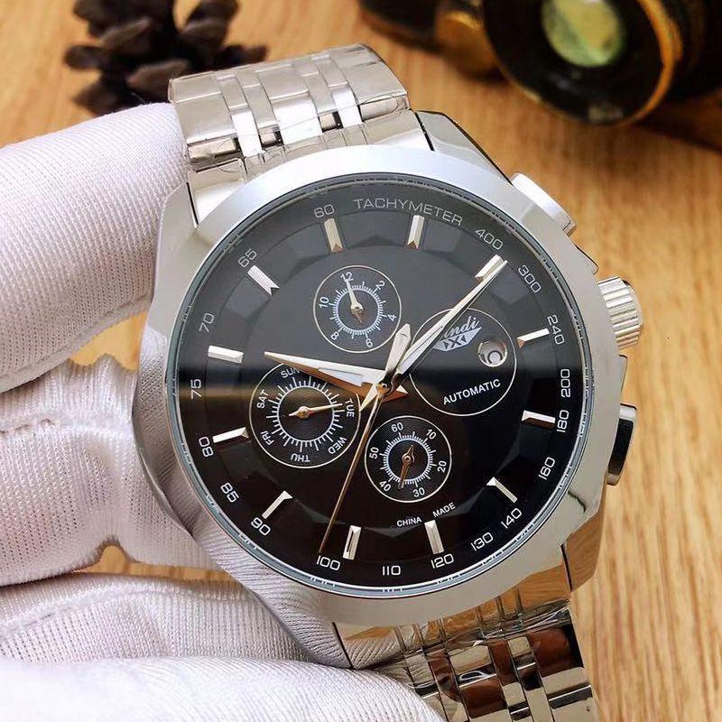 A1xindi Three Eye Six Pin Multi-function Fully Automatic Mechanical Watch Refined Steel Men's Watcha1