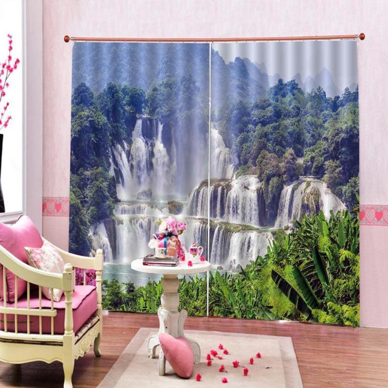 Cortinas cortinas paisajes naturales 3d cortinas de ducha paisaje cascada árboles impreso Dormitorio decoración con 2 paneles ganchos