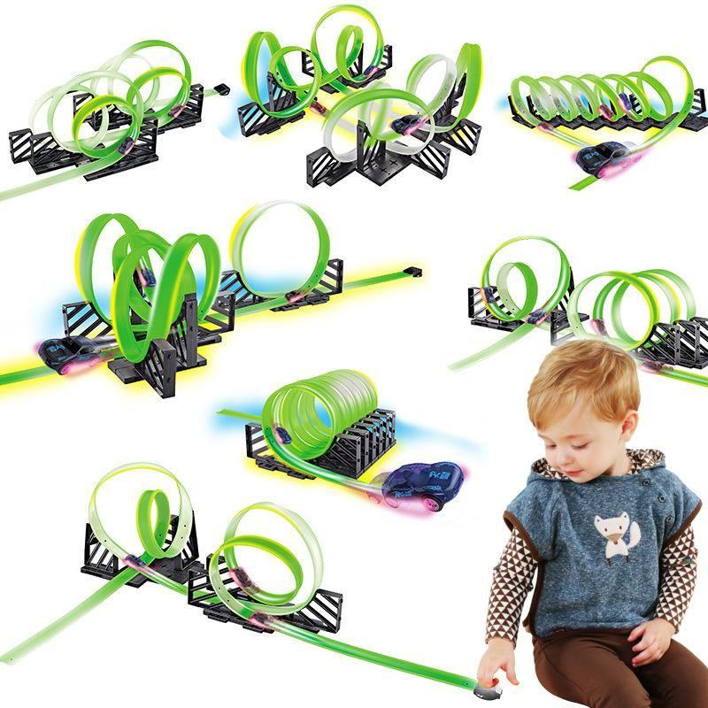 Wyt kreative fluoreszierende licht racetrack elektrische kleine auto, diy montage mehrere spiel, entwicklung spielzeug, party weihnachtskind geburtstagsgeschenk 2-2