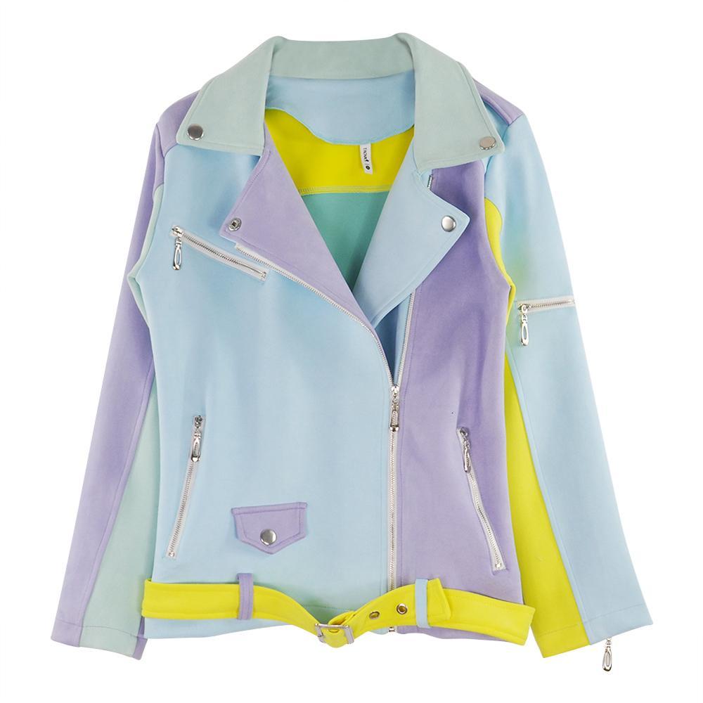 Temel Taotrees kadınların Renkli Eklenmiş Çapraz Fermuar Ceketleri Kadın Epaulet Tasarım Turn-down Yaka UO5F