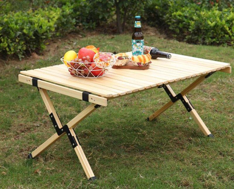Mesa plegable de madera Mesa de rodillo portátil para jardín para el hogar Camping al aire libre viaje picnic BBQ