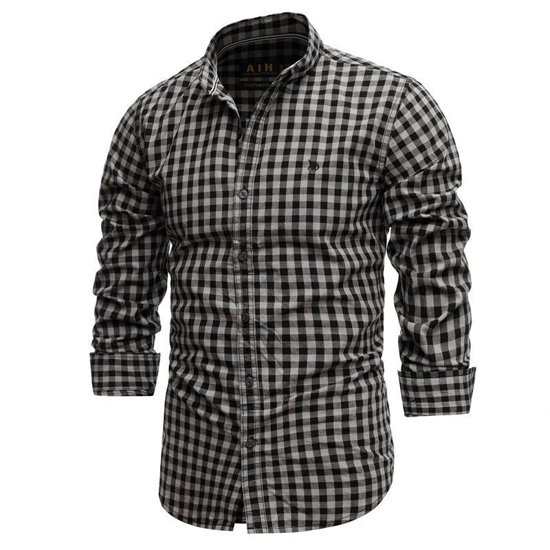 2021 nouveau printemps 100% coton échecs mince Casual Casual Homme T-shirt Société Social Ed Shirts 1P5L