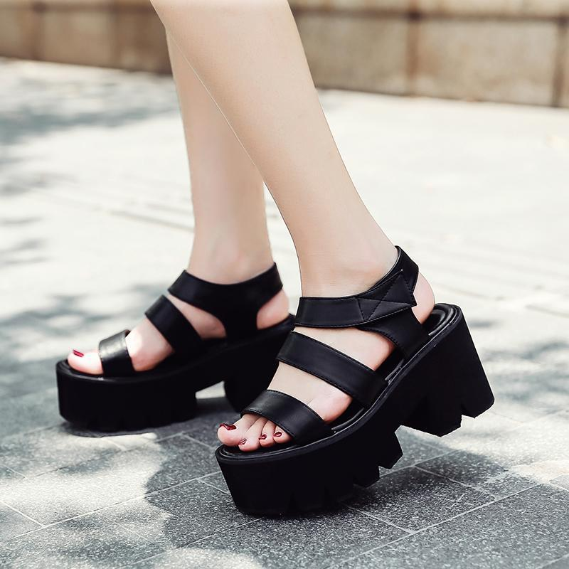 Platform Ayakkabıları Gladyatör Sandalet Kadın Yaz Ayakkabı Ayak Bileği Kayışı Topuklu Siyah Sandalet Kadın Bayan Strappy Topuklu Demonias