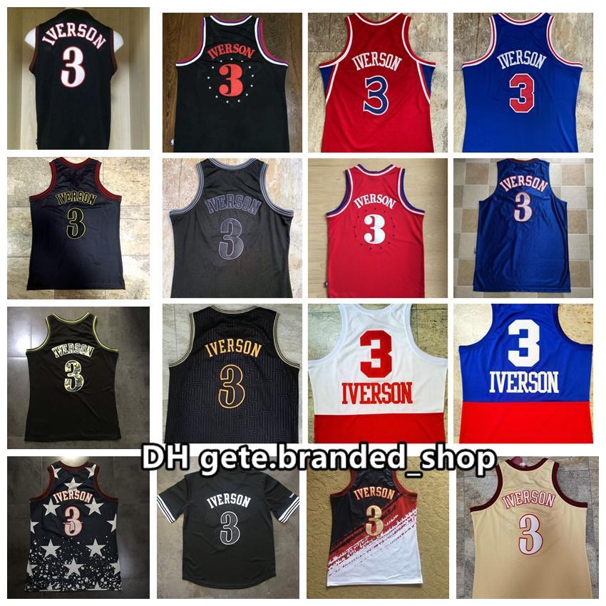 Mitchellness Vintage Filadelfias Allen 3 Iverson Rookie Swingman Malla de malla Logotipos 96-97 97-98 Jerseys de baloncesto retro cosido