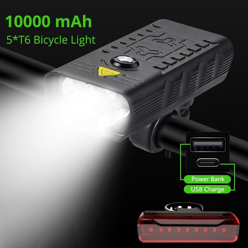10000 мАч велосипедный свет 3000 люмен USB аккумуляторный передний велосипед освещения 5T6 мощный фонарик велосипедный фонарь хвостовой головной лампы