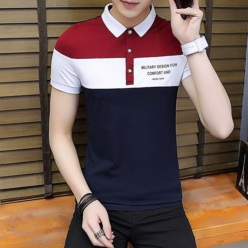 T-shirt da colletto in cotone con manica corta da uomo in primavera ed estate