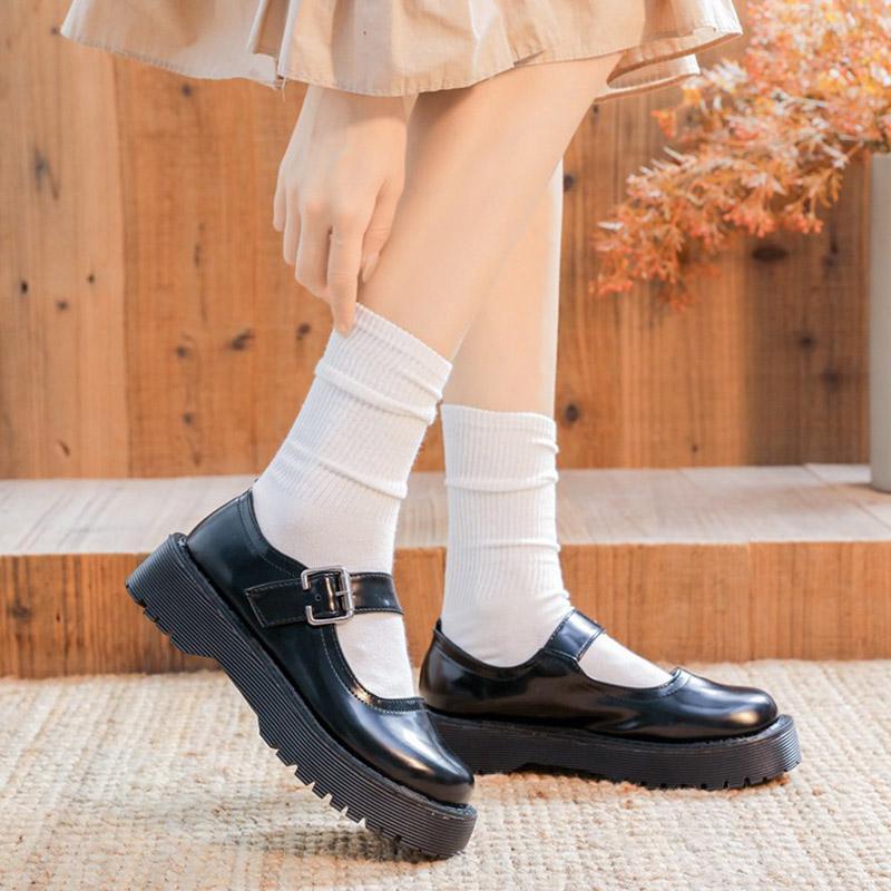 Lolita Ayakkabı Düz Platformu Ayakkabı Kadın Mary Janes Ayakkabı Siyah Deri Toka Düşük Topuklu Kızlar Bahar Sonbahar 8644N