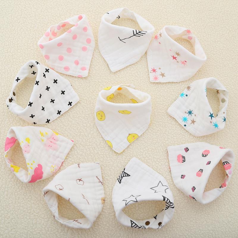 8 개의 레이어 아기 신생아 inct in bibs 유아 삼각형 스카프 유아 모슬린 코 튼 두통 burp cloths 23 색