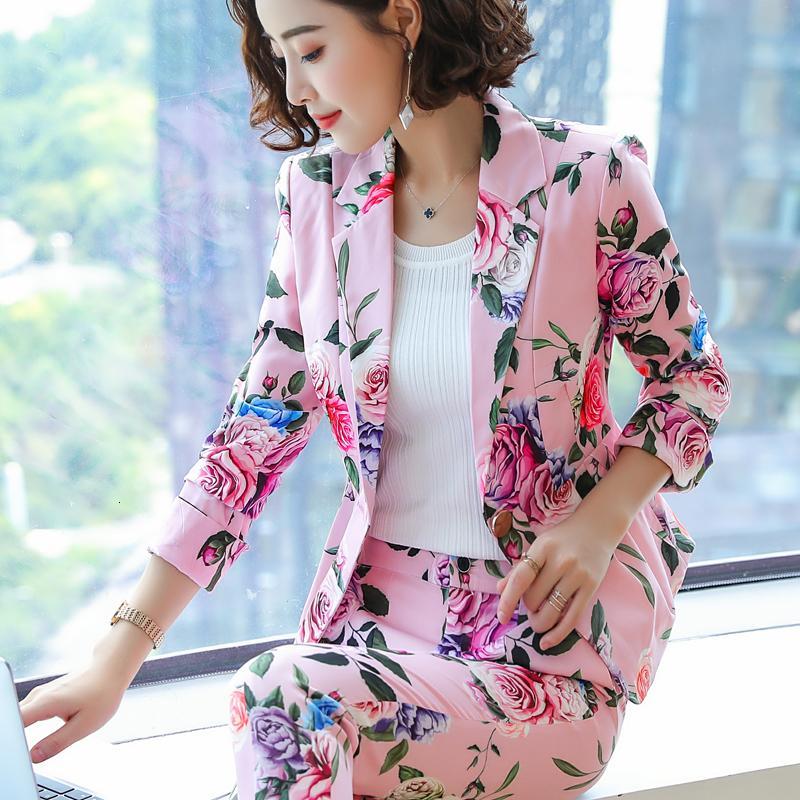 Güzel Kız Uzun Kollu Küçük Kadın Ceket Baskı 2021 Yeni Moda Kırık Çiçekler Iki Parçalı Suit Bayanlar Gelgit Znp1
