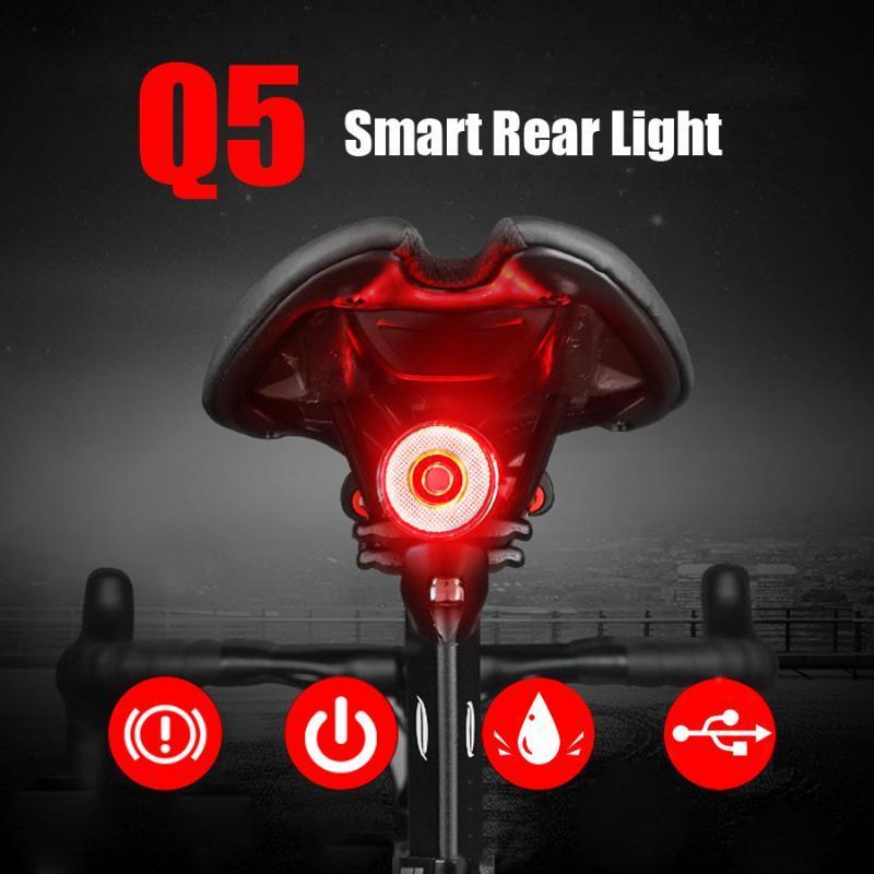 Newberer Smart Индукционные тормозные велосипедные задние фонарики Auto Sensing Bike Light Задний USB Водонепроницаемый Велосипедные Острые Велосипедные Аксес