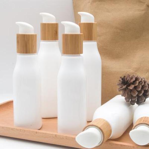 Bambú loción gorra crema crema botella 120 ml 100 ml 4 oz vidrio opal blanco porcelana bomba bambalea bambú contenedores cosméticos
