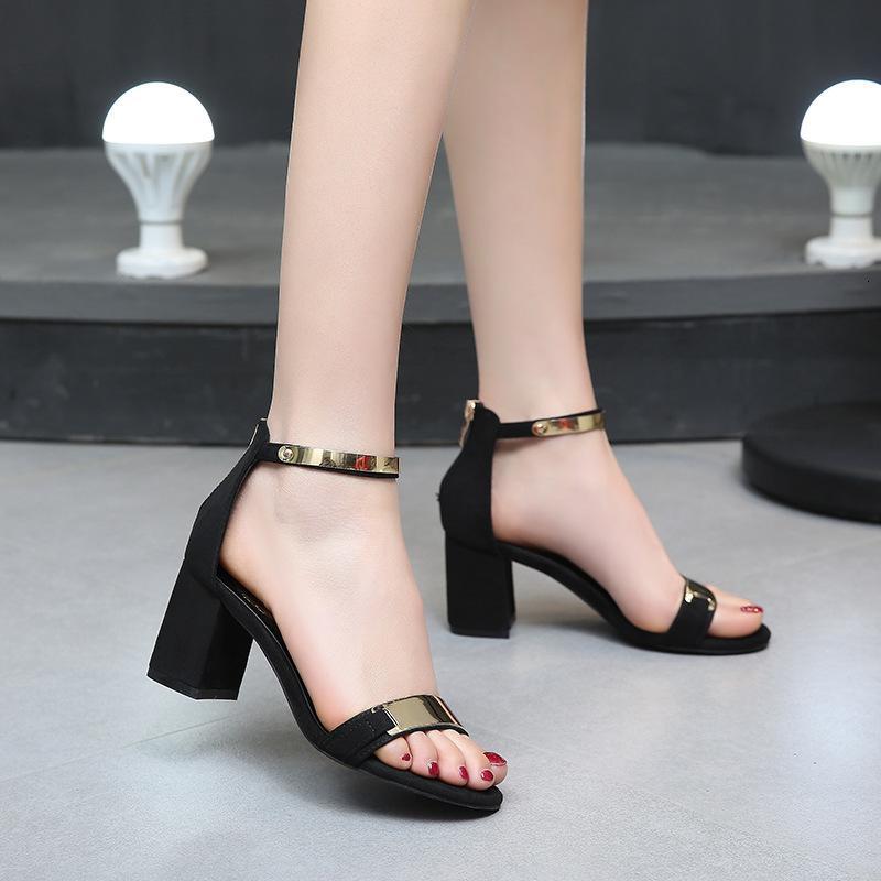 Женские летние квадратные коренастые крючки красные GESP отдельная лента высокий блок Hak открыть подросток партии сандалии леди насос