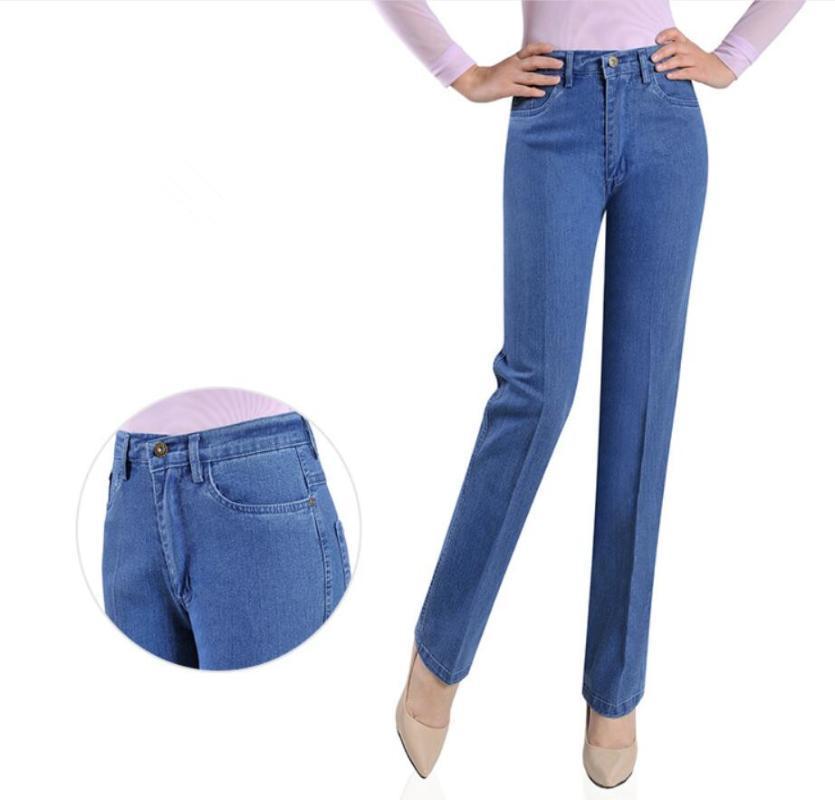 Плюс размер весна и осень среднего возраста женские джинсы мама прямые высокие талии тонкие джинсовые брюки брюки S886