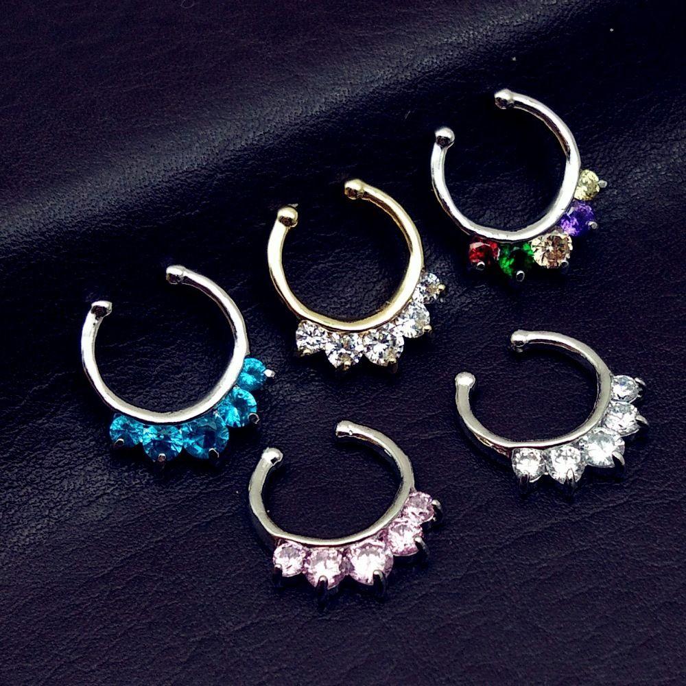 Zircon Five Drill Falso naso clip naso naso naso anello anello umano corpo puntura gioielli