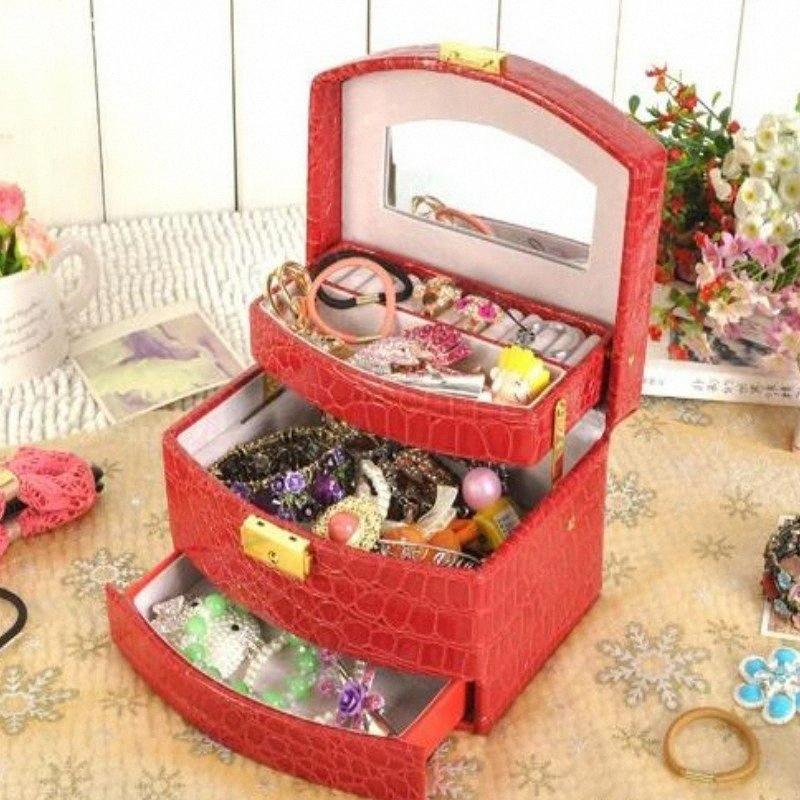 Luxo PU Couro Jóias Caixa de Presente 3 Camadas Jóias De Armazenamento Caixa De Armazenamento Caso Organizador Organizador Makeup Bag Cosmetic 42ul #