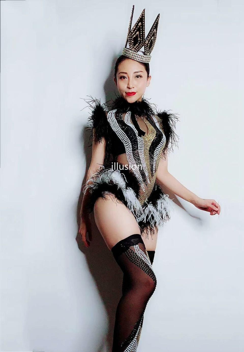 Sparkly Rhinestones черный белый перо сетка боди Леггинсы ночной клуб женские сценические характеристики наряды на день рождения вечеринка