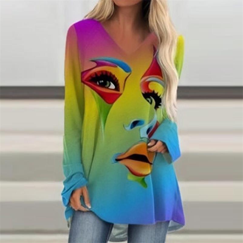 Осень Повседневная Печатная Рубашка Женщины Абстрактные Лицевые Печать V Вырезы Длинные Рубашки Свободные Длинные Топы Тройник Футболка Дамы Пуловер S-5XL 210315