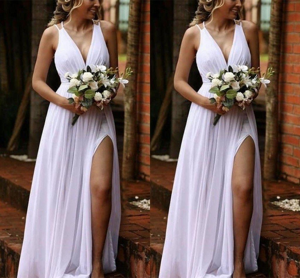 Cheap Simple Modest New Chiffon Beach Wedding Dresses Deep V Neck Floor Length High Side Split Boho Bohemian Bridal Gowns Wedding Dress