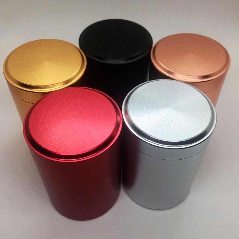 Neueste Bunte Aluminium Tragbare Dichtung Trockene Kraut Tabak Gewürz Miller Aufbewahrungsflasche Stash Case Zigarette Raucher Gläser Zubehör DHL