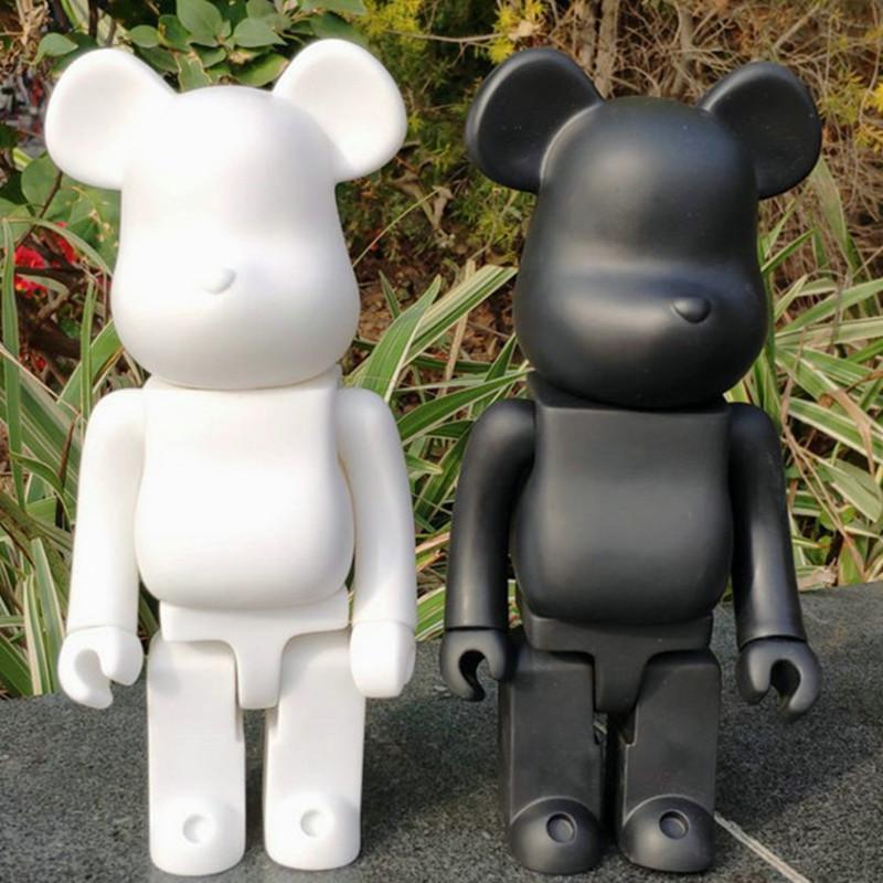 28 см 400% Bearbrick Bear @ Кирпич Действия фигурки медведь ПВХ модель DIY краска куклы Детские игрушки Детский день рождения подарки