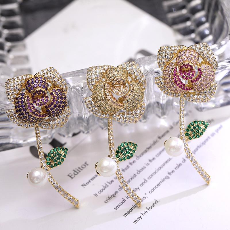 Pins, Brooches 1pc Fully-jewelled CZ Rose Exquisite Pearl Luxury Pin Clothes Accessories 3 Color
