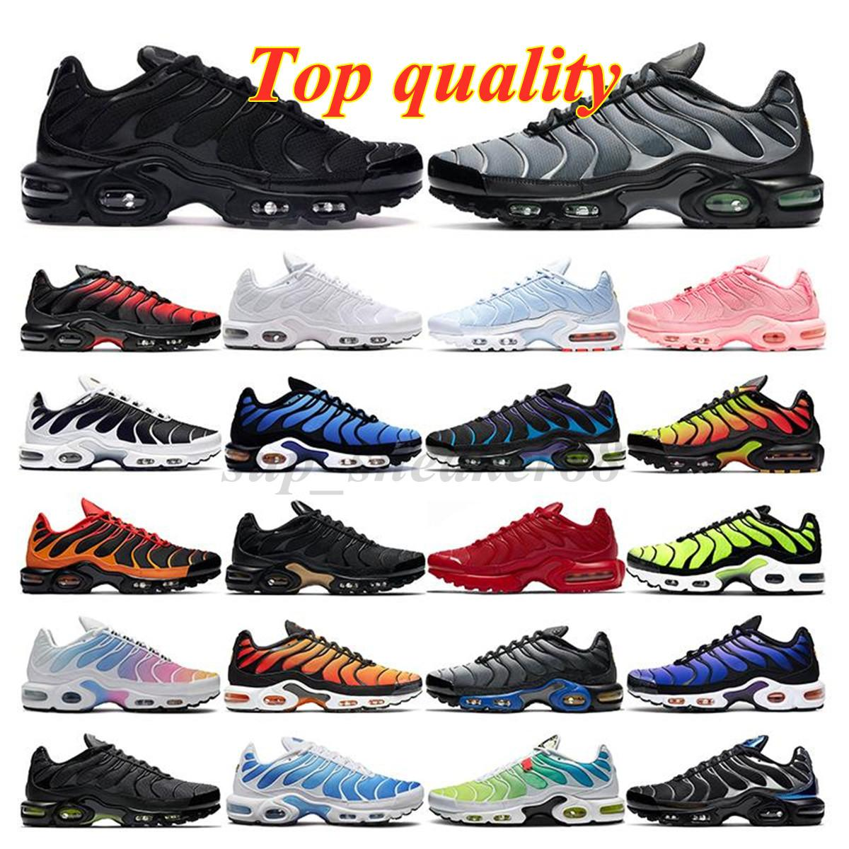 2021 TN Artı Koşu Ayakkabıları Erkek Siyah Beyaz Volt Glow Hiper Pastel Mavi Oreo Kadınlar Nefes Sneaker Eğitmen Açık Spor Ayakkabı Boyutu 36-45